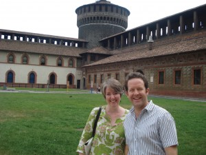 Truman professor Julia DeLancey and Truman alumnus John Garton ('97) in the courtyard of the Castello Sforzesco in Milan, Italy.