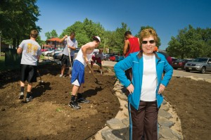Jack Bowen's wife, Melba, was actively involved in the design and planning of the Jack C. Bowen Memorial Garden. She is shown in the forefront of this photo which was taken during the installation of the garden.