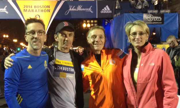 Runners from Kirksville visit the finish line of the Boston Marathon on the eve of the race. Pictured, from left, Royce Kallerud, Robert Keough, Paul Yoder and Sonya Clark.