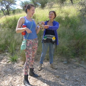 Dawn Runge, left, shares a moment with fellow chiropractor, Dr. Elga Drews, during her first week in Namibia.