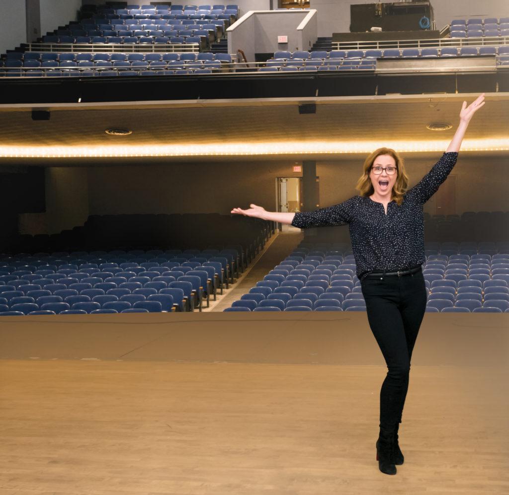Jenna Fischer on the Baldwin Auditorium stage
