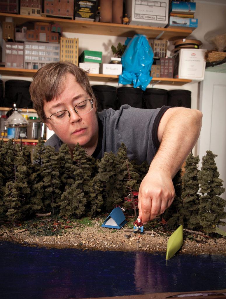 Lori Nix working in her studio